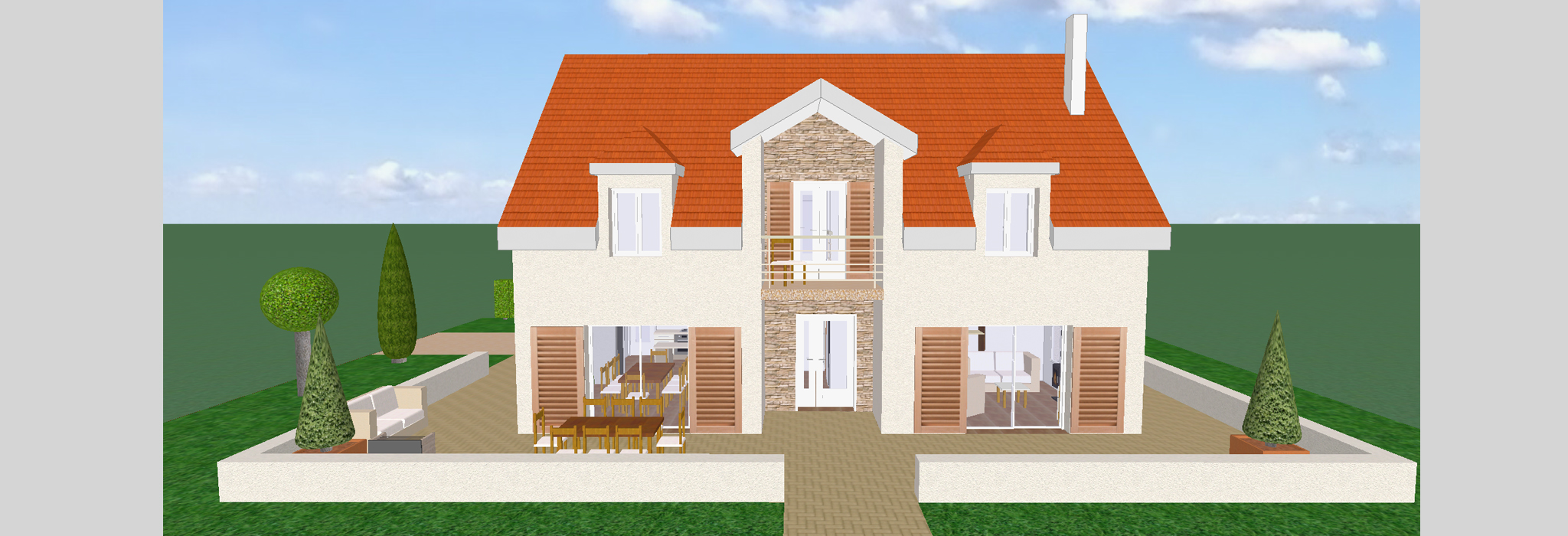 3d maison simple plan de maison en l modele quart vue d for Sites web de plan de maison